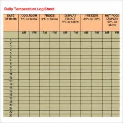 room temperature log sheet template log sheet template 9 free documents in pdf