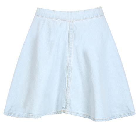 new womens light blue wash denim skater skirt mini