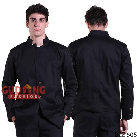 Blazer Pria Kombinasi Casual Slimfit Abu Abu blazer korea casual slim fit pria premium katun hitam blz 605 gudang fashion