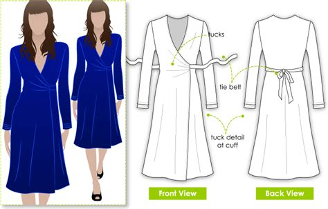 pattern jersey wrap dress stylearc kate dress sewing pattern