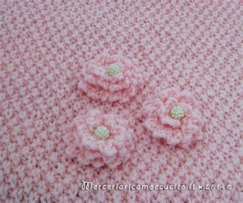 fiori fatti ai ferri copertina rosa in e fascia in cotone con fiore all