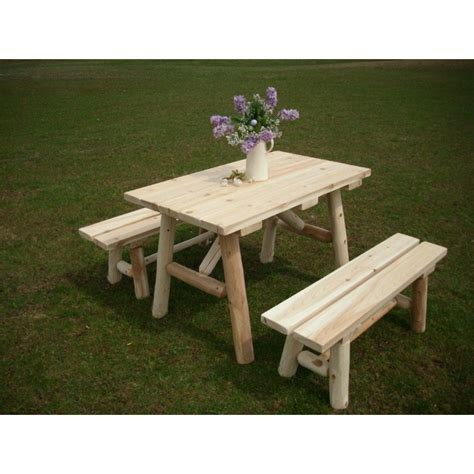 white cedar log traditional picnic table with detached