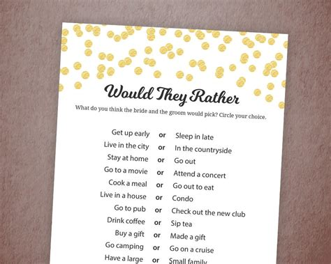 Would They Rather Gold Confetti Bridal Shower Game Printable Would They Rather Bridal Shower Template