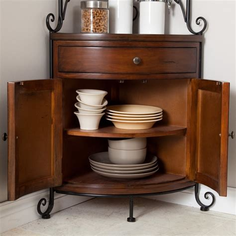 Wrought Iron Corner Bakers Rack by Wrought Iron Bakers Rack Kitchen Wood Metal Corner Storage