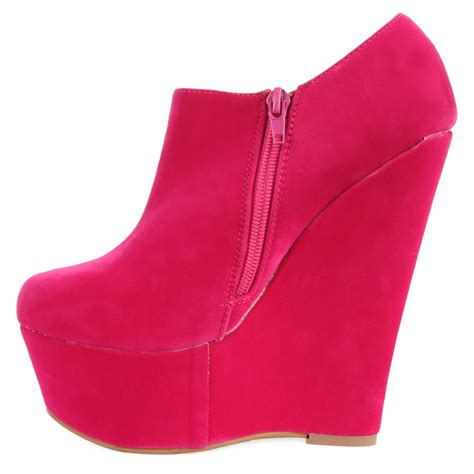 new womens fuschia pink platform wedge heel ankle