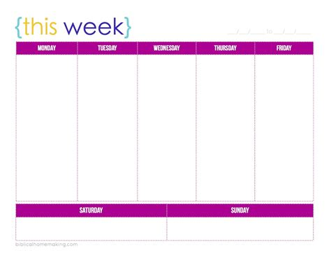 colorful printable weekly planner 8 best images of 3 week calendar template printable