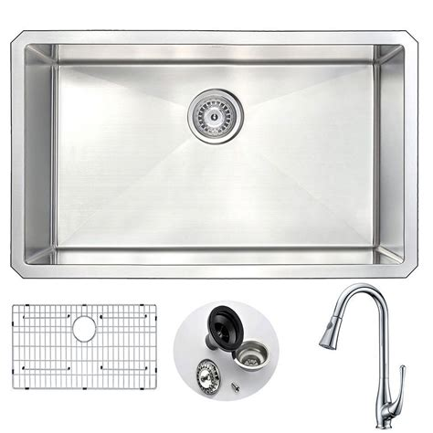 Anzzi Vanguard Undermount Stainless Steel 30 In Single Kitchen Sink With Faucet Set