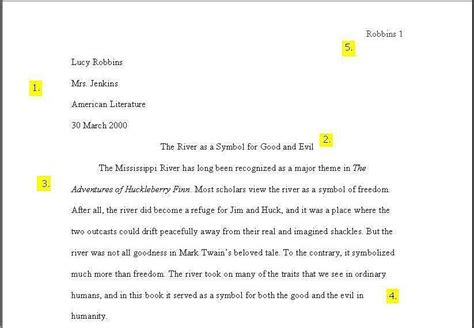 sample pages  mla format