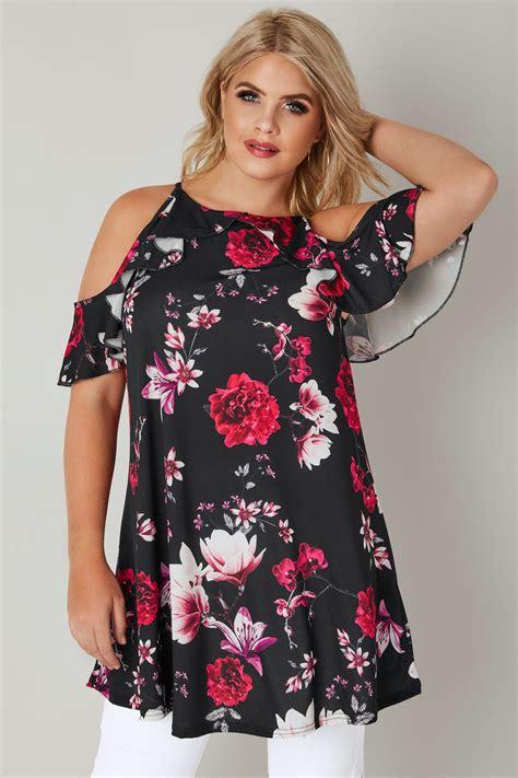 Shoulder Floral Print Top black floral print high neck cold shoulder top with