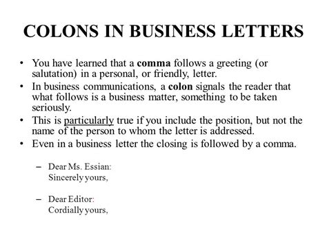 Business Letter Salutation Semicolon business letter colon or comma 28 images dates