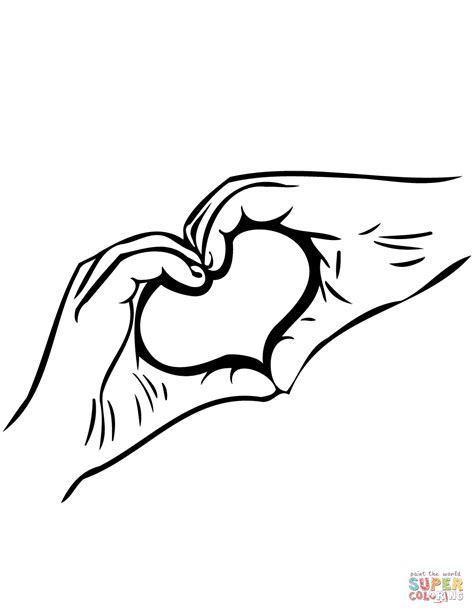 coloring pages of two hands two hands forming shape of heart click the heart shaped