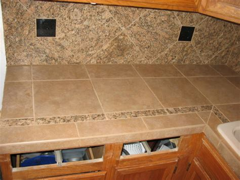 Kitchen Porcelein Tiled Countertop Backsplash Tiled Kitchen Countertops