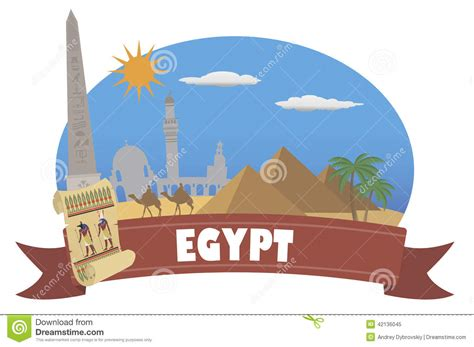 Egypt. Tourism And Travel Stock Vector   Image: 42136045