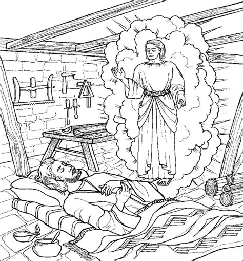 Coloring Page Of Angel And Joseph | joseph and the angel coloring page coloriage religieux