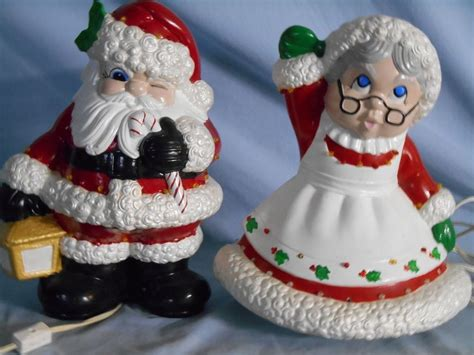 vintage large mr mrs santa claus ceramic figurines