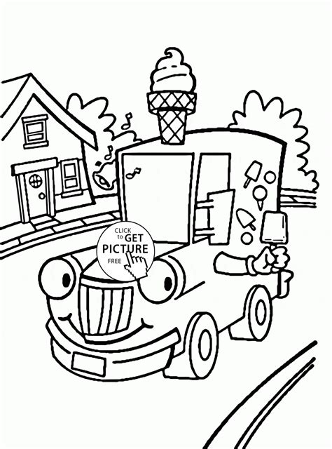 ice cream truck coloring page cartoon ice cream truck coloring page for kids