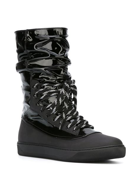 moncler lace up patent leather snow boots in black lyst