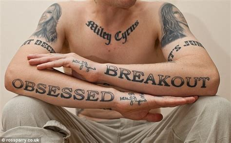 lyrics tattoo cover up miley cyrus fan covers his body with 22 tattoos of the