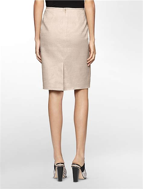 calvin klein womens khaki linen pencil skirt ebay