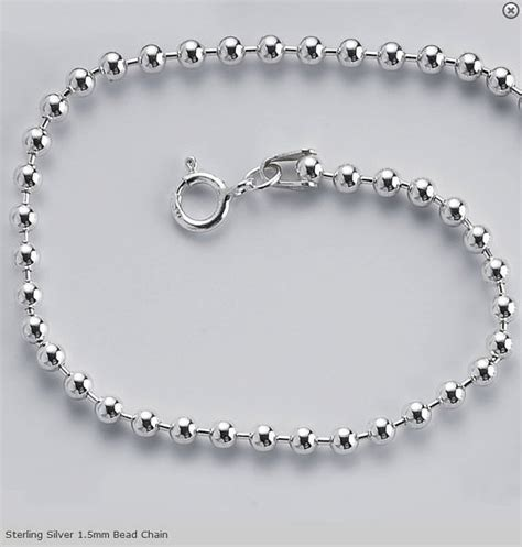 bead chain in sterling silver base chain