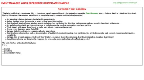 Work Experience Letter Manager event manager work experience letters sles