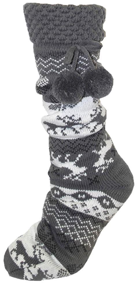 womens fleece slipper socks womens fleece fur lined slipper socks thermal non