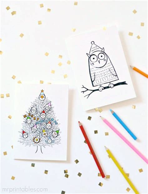 printable christmas cards in color free printable coloring christmas cards for kids to color
