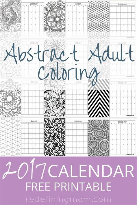coloring book planner abstract coloring 2017 calendar free printable