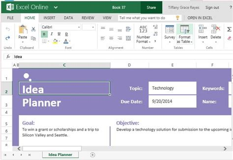 Idea Planner Template For Excel For Tasks, Goals And