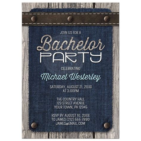 bachelor party invitations denim wood leather rustic