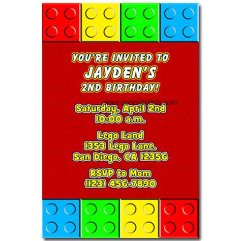 lego block invitations general prints