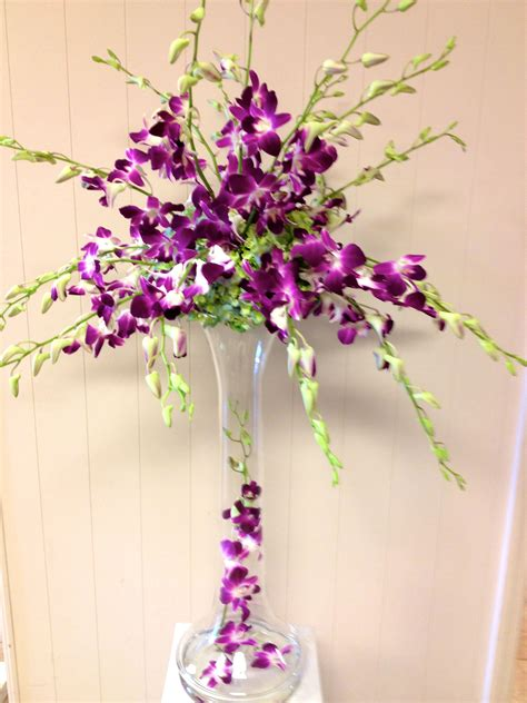 All Orchid Wedding Centerpiece Purple Dendrobium Orchids Purple Orchid Wedding Centerpieces
