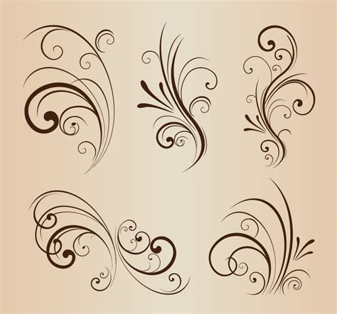 Decorative Flourish by Vector Set Of Swirling Flourishes Decorative Floral