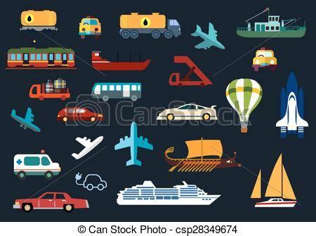 transportation flat icons  road water rail air