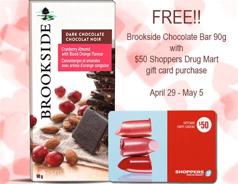 Chocolate Bar Gift Card - shoppers drug mart free brookside chocolate bar with 50 shoppers drug mart gift card