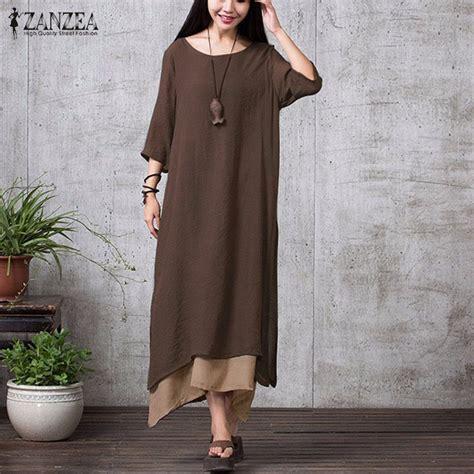 zanzea fashion cotton linen vintage dress 2017 summer autumn casual boho maxi