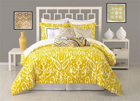 2in1 Set Jellow Mustard ikat king comforter set mustard yellow white