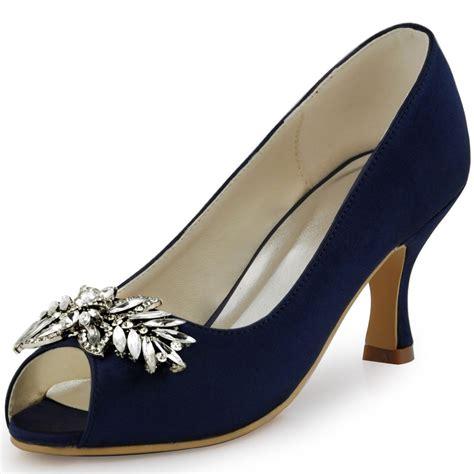 Navy Blue Satin Wedding Shoes by Hp1540 Navy Blue Spool Heel Pumps Peep Toe Satin