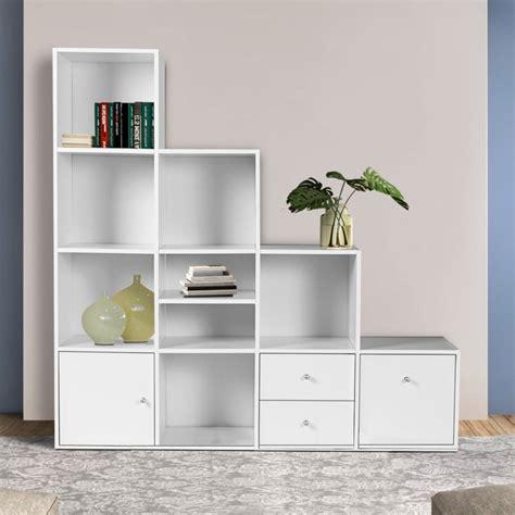 meuble de rangement escalier 4 niveaux bois blanc avec