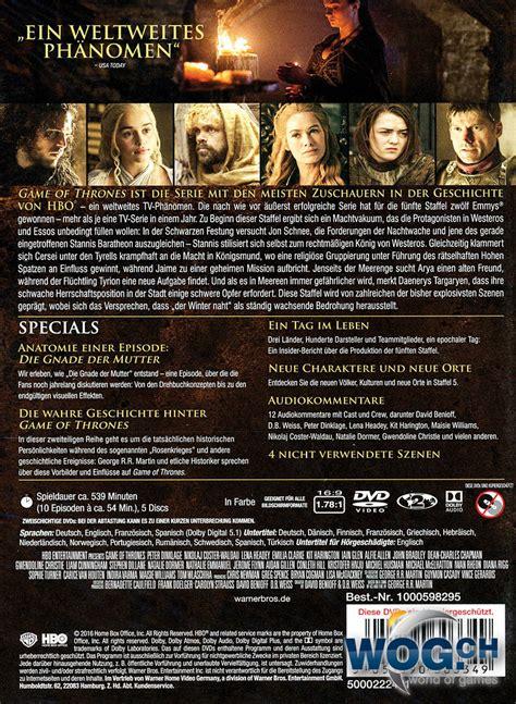 thrones wann staffel 5 of thrones staffel 5 box 5 dvds dvd filme