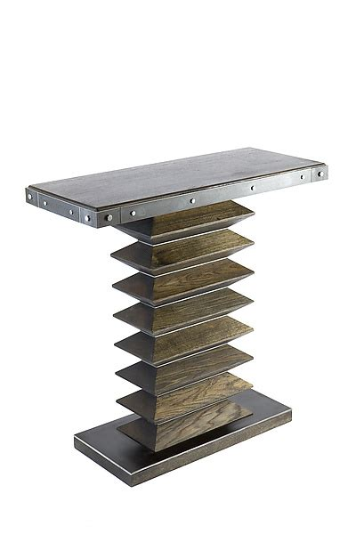 zig zag console table zig zag console table by wes walsworth wood steel