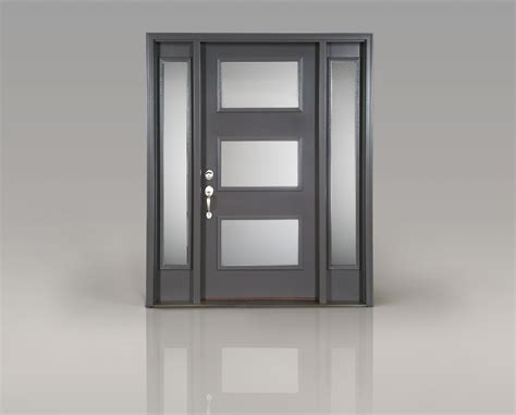 Contemporary Front Doors With Sidelights Create A Modern Entrance With Clopay S Smooth Fiberglass Front Door Quot Reed Quot Decorative Glass And