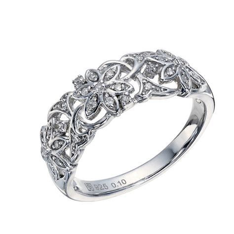 sterling silver 1 10 carat 3 flower eternity ring