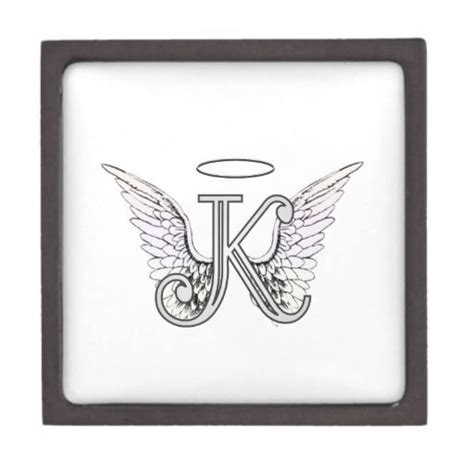 tattoo lettering with angel wings letter k initial monogram with angel wings halo artwork