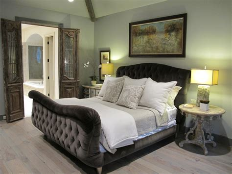 tufted bed bedroom contemporary with dark grey bed carved