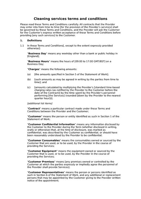 Cleaning services terms and conditions - Docular