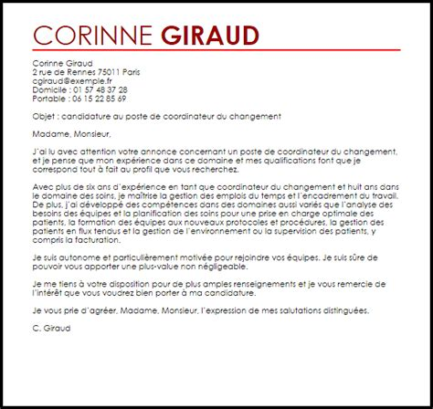 Exemple De Lettre De Motivation Coordinateur Administratif exemple lettre de motivation coordinateur du changement