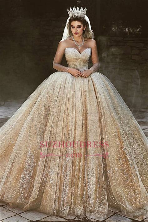 Luxury Champagne Gold Wedding Dresses 2019   Sequins