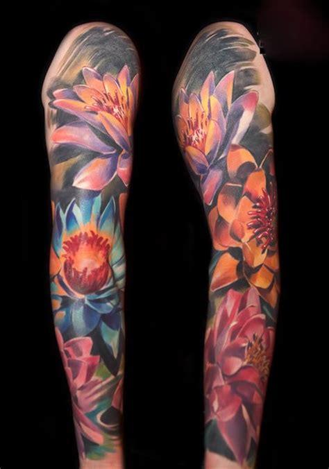lotus quarter sleeve tattoo many lotus flowers tattoo sleeve best tattoo ideas gallery