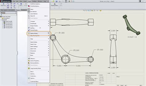 solidworks tutorial blueprints solidworks 2014 replace model in drawing view